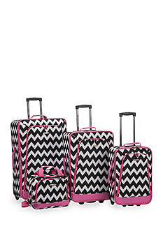 Rockland 4-Piece Printed Luggage Set - Pink Chevron