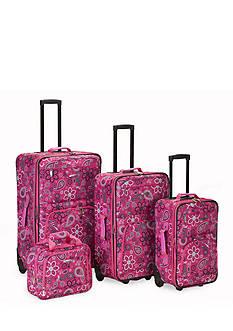 Rockland 4-Piece Printed Luggage Set - Pink Bandana
