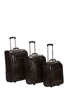 Rockland 3 Piece Crocodile Luggage Set - Brown