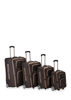 4 Piece Varsity Rockland Polo Equipment Upright Luggage Set - Brown