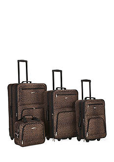 Rockland 4 Piece Printed Luggage Set - Brown Leopard