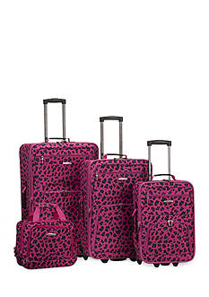 Rockland 4-Piece Printed Luggage Set - Magenta Leopard