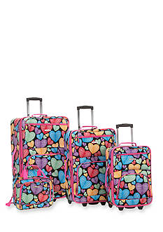 Rockland 4 Piece Printed Luggage Set - New Heart