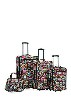 Rockland 4 Piece Printed Luggage Set - Owl