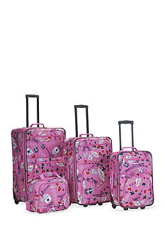 Rockland 4 Piece Printed Luggage Set - Pink Vegas