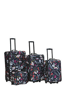 Rockland 4 Piece Printed Luggage Set - Black Vegas