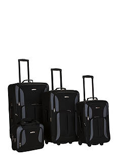 Rockland 4 Piece Luggage Set - Black Gray