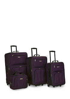 Rockland 4 Piece Luggage Set - Purple