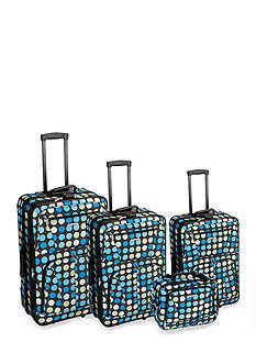 Rockland 4 Piece Luggage Set - Blue Dot
