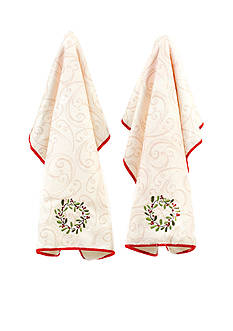 John Ritzenthaler Company Wreath Microfiber Embroidery Kitchen Towel 2-Pack