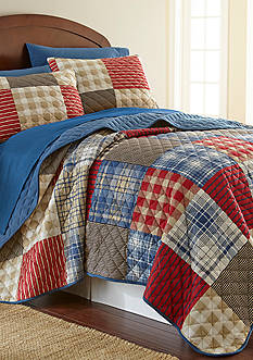 Shavel Micro Flannel Full/Queen Berry Patch Plaid Quilt Set