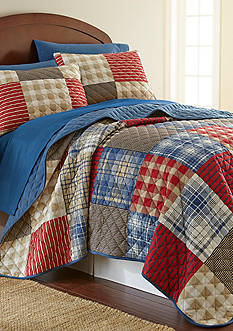 Shavel Micro Flannel Twin Berry Patch Plaid Quilt Set