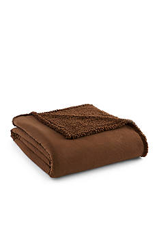 Shavel Micro Flannel Sherpa King Chocolate Blanket