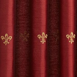 Window Valances: Red Croscill BASTILLE UNLINED ASCOT VALANCE