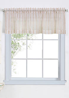Elrene Linen Stripe Rod-Pocket Sheer Window Valance
