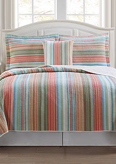 Retro Chic Beach Club Stripe Quilt