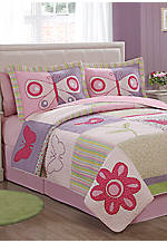 Casual Butterflies Multicolored Twin Quilt 66-in. x 86-in. with Sham 20-in. x 26-in.