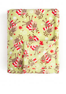 Home Accents Microplush Snow Deer Throw
