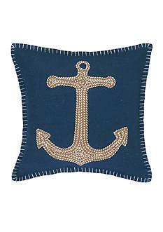 PEKING HANDICRAFT Anchor Embroidered Decorative Pillow