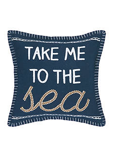 PEKING HANDICRAFT Take Me to The Sea Embroidered Decorative Pillow