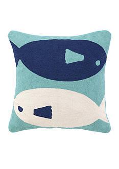 PEKING HANDICRAFT FISH CREWEL Decorative Pillow