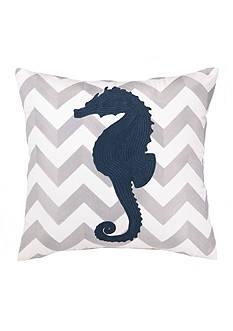 PEKING HANDICRAFT Seahorse Chevron Decorative Pillow