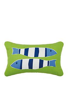 PEKING HANDICRAFT Green Nautical Two Fish Outdoor Decorative Pillow