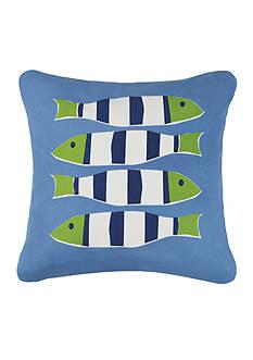 PEKING HANDICRAFT Blue Nautical Four Fish Decorative Pillow