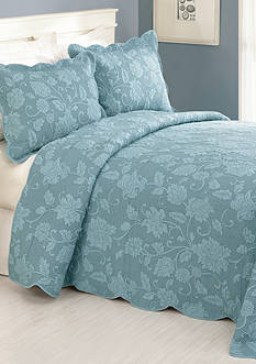 Modern Heirloom Collection Janet Queen Bedspread Blue