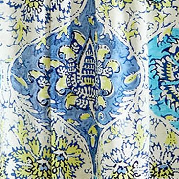 Patterned Curtains: Blue Waverly KINGS TURBAN CURTAIN PANELS