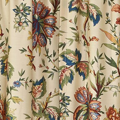 Patterned Curtains: Creme Waverly WAVERLY FELICITE TIER PAIR CRME