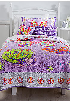 J Khaki Glitter Butterfly Quilt Collection