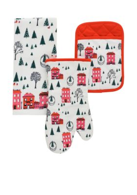 kate spade new york Holiday Village 3-Piece Oven Mitt Pot Holder and Dish Towel Set