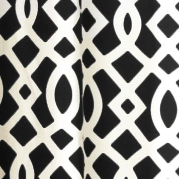 Patterned Curtains: Black Commonwealth Home Fashions TRELLIS GRMMT PNL PR KHKI 95IN