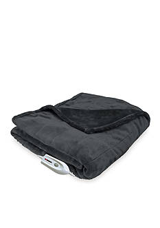 Serta Heated Silky Sable Plush Warming Throw