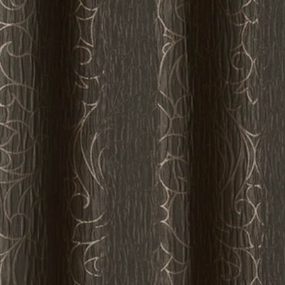 Patterned Curtains: Chocolate Dainty Home MIRANDA 76X84 GROMMET PANEL PR SLVR