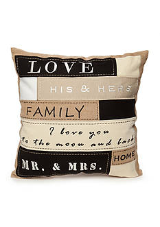 Elise & James Home™ Love Burlap Decorative Pillow