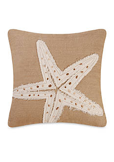 C&F Starfish Burlap Embroidered Pillow