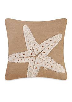 C&F Starfish Burlap Embroidered Pillow