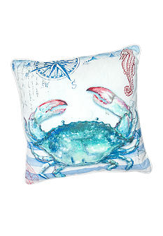 C&F Blue Crab Canvas Decorative Pillow