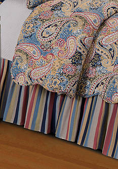 C&F Bright Blue Blue Paisley King Bedskirt 78-in. x 80-in.