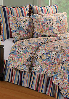 C&F Bright Blue Paisley Full/Queen Quilt 90-in. x 92-in.