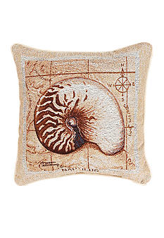 Manual Woodworkers Sea Treasures Nautilus Decorative Pillow