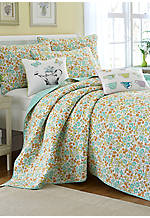 Jaynie Aqua Multi Twin Quilt 88-in. x 68-in.