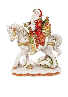 Fitz and Floyd DAMASK HOLIDAY SANTA ON A HORSE FIGURINE