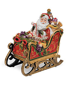Fitz and Floyd Regal Holiday Santa Sleigh Musical - Toyland Tune