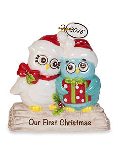 Fitz and Floyd Holiday Hoot 2016 Dated Our First Christmas Ornament