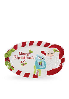 Fitz and Floyd Holiday Hoot Sentiment Tray