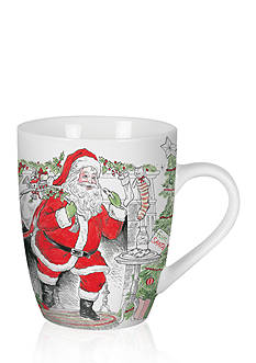 Fitz and Floyd Vintage Holiday Collection set of two Mugs