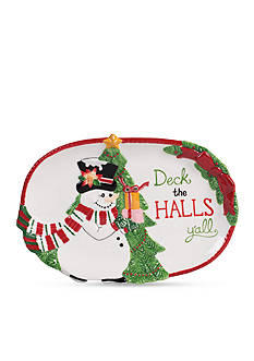 Fitz and Floyd Yall Top Hat Frosty Sentiment Tray